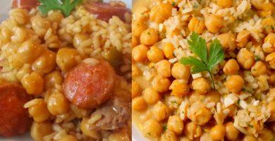 como preparar chorizos con arroz y garbanzos